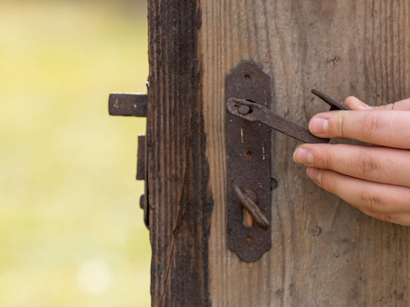 Türschnalle und Tür aus Holz